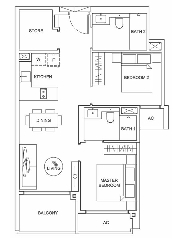 Type A 753sqft 2 Bedroom + Store
