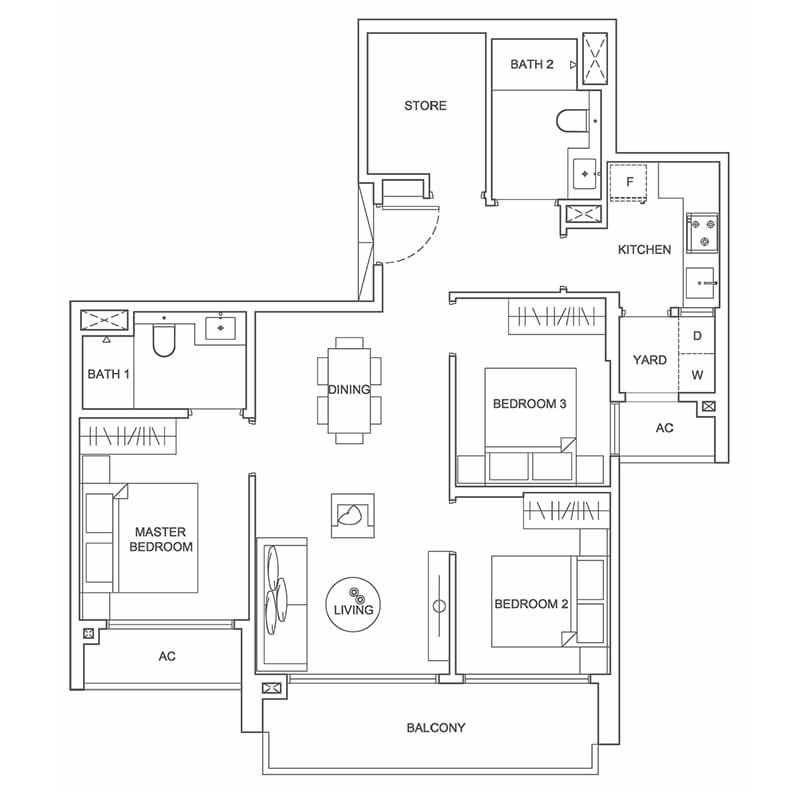 Type C 969sqft 3 Bedroom + Store